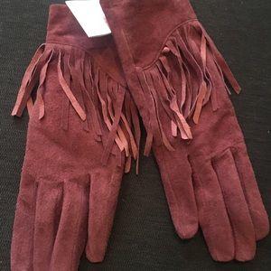 Burgundy Suede Fringe Gloves